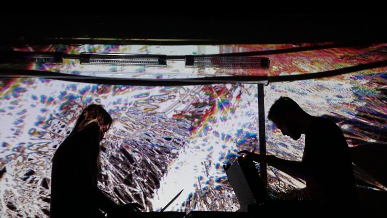 Live visual performance with HHNOI in Hamm, Germany. Winnie's Gartenparty - July 2019 (photo: Hans-Hermann Hess)